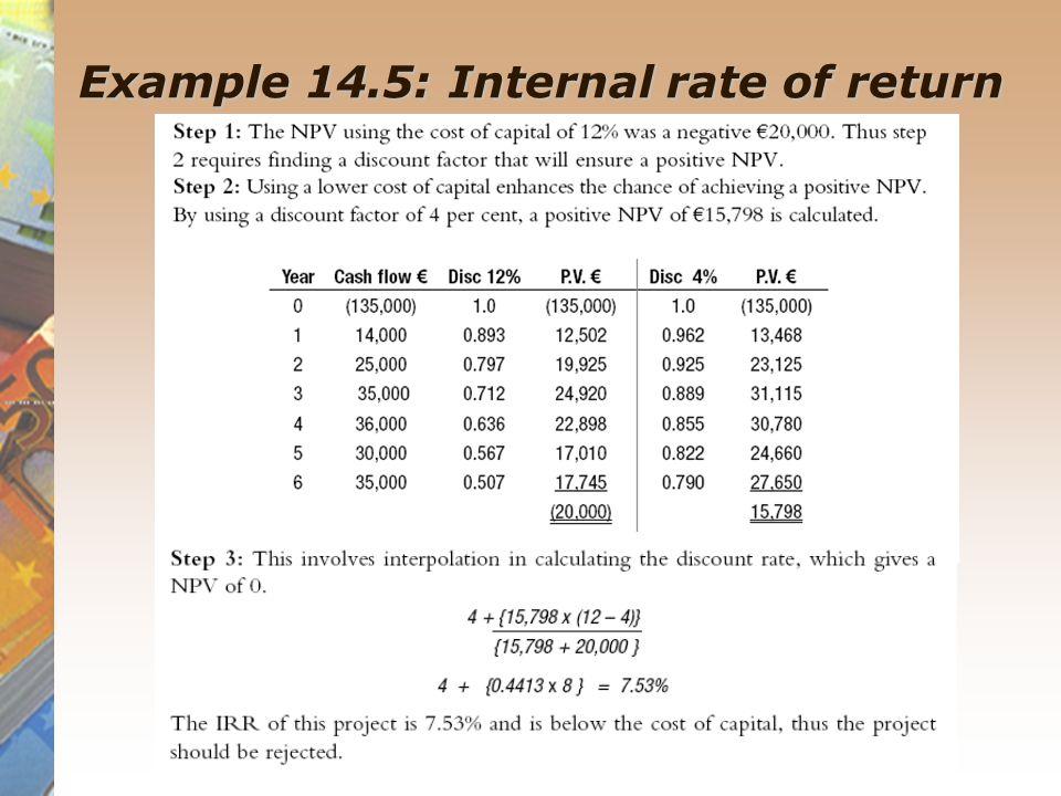 Example 14.5: Internal rate of return
