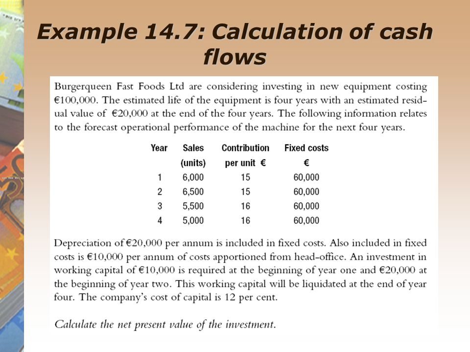Example 14.7: Calculation of cash flows