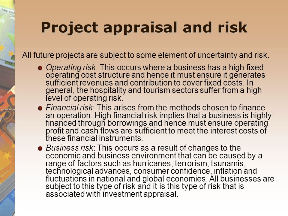 Project appraisal and risk