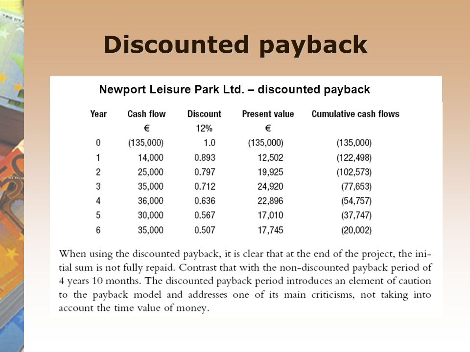 Discounted payback Newport Leisure Park Ltd. – discounted payback