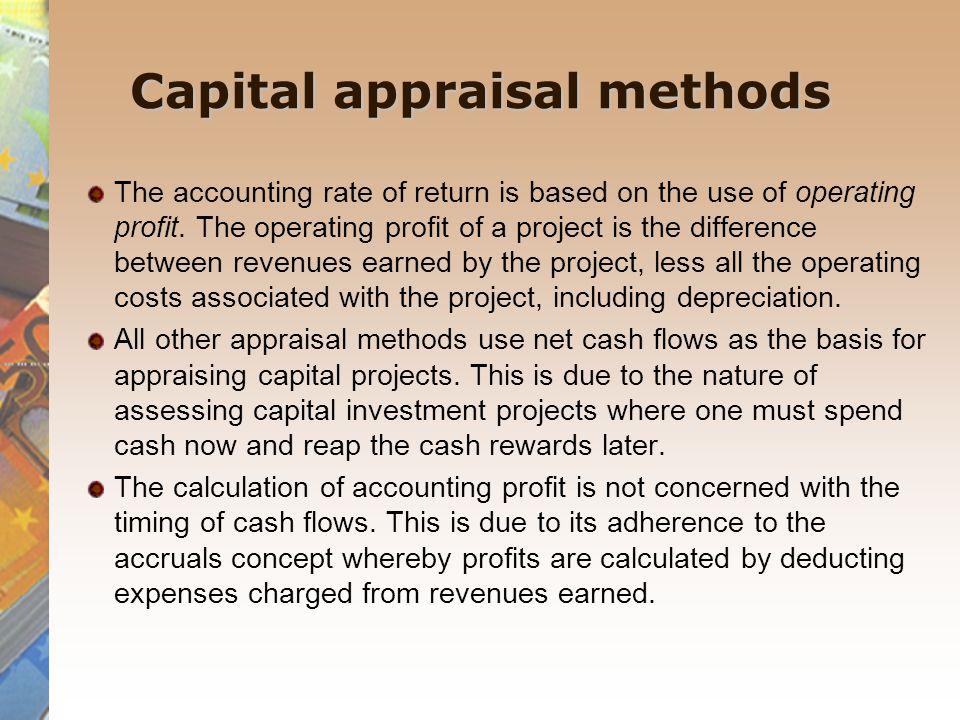Capital appraisal methods
