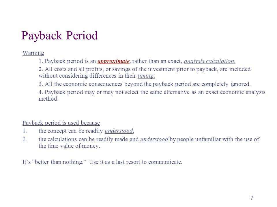 Payback Period Warning