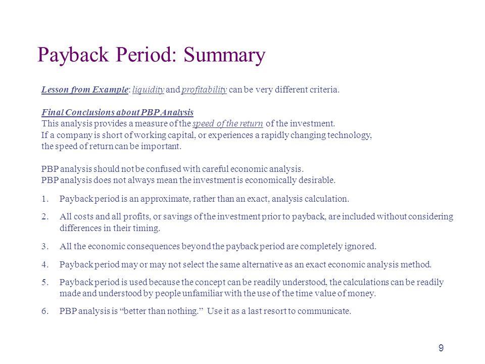 Payback Period: Summary