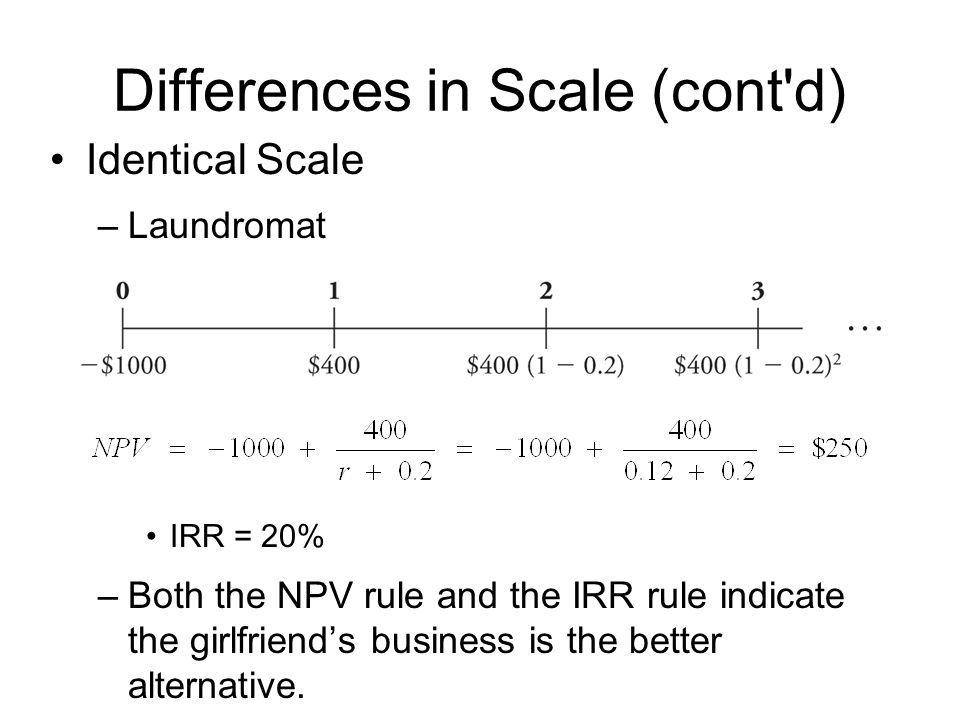 Differences in Scale (cont d)