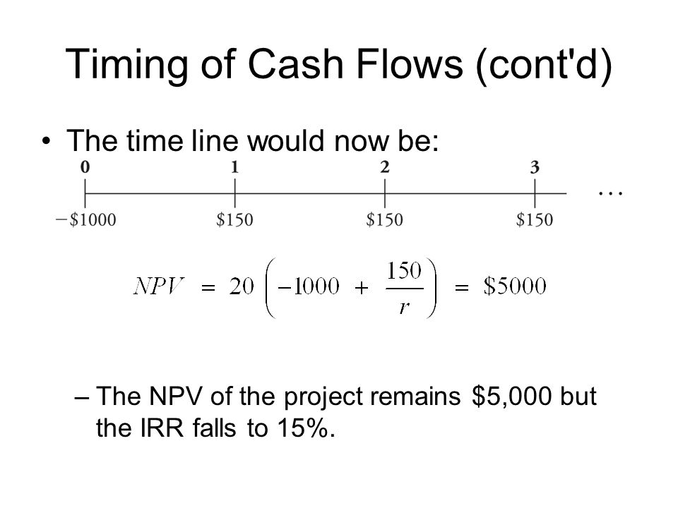 Timing of Cash Flows (cont d)