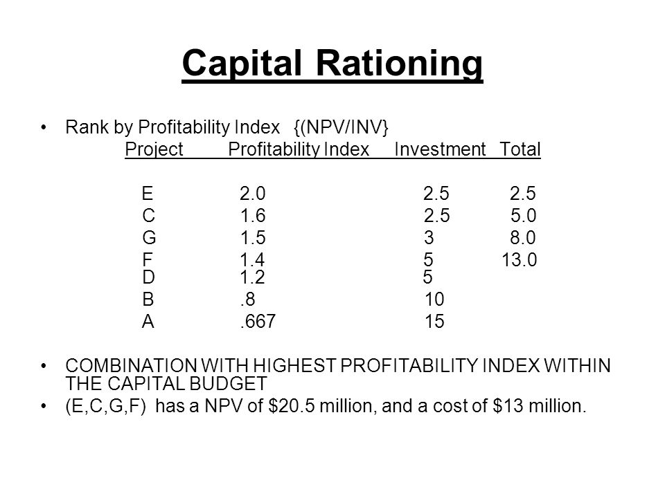 Project Profitability Index Investment Total
