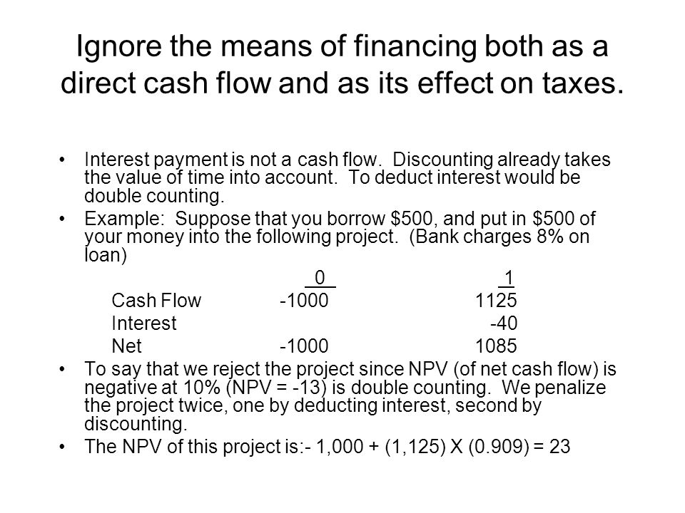 Ignore the means of financing both as a direct cash flow and as its effect on taxes.