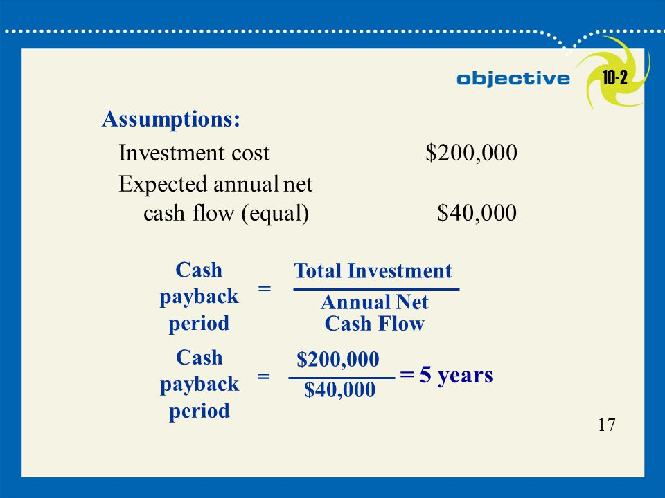 Assumptions: Investment cost $200,000 Expected annual net