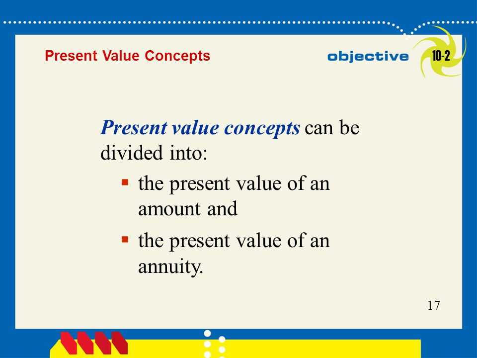 Present value concepts can be divided into: