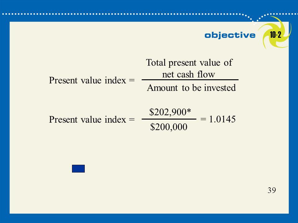 Total present value of net cash flow