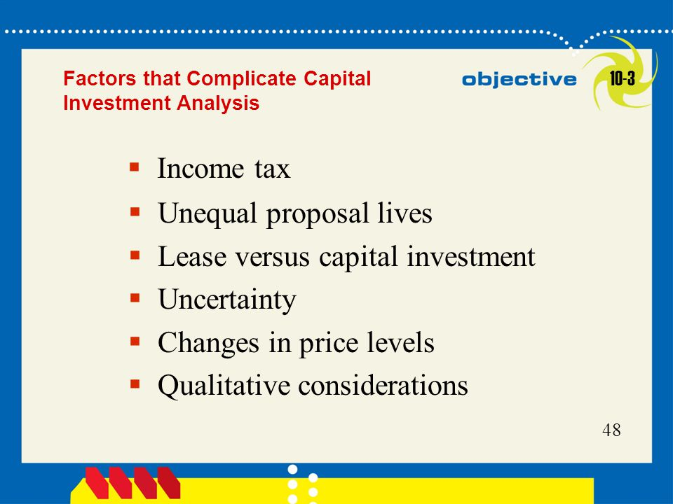 Unequal proposal lives Lease versus capital investment Uncertainty