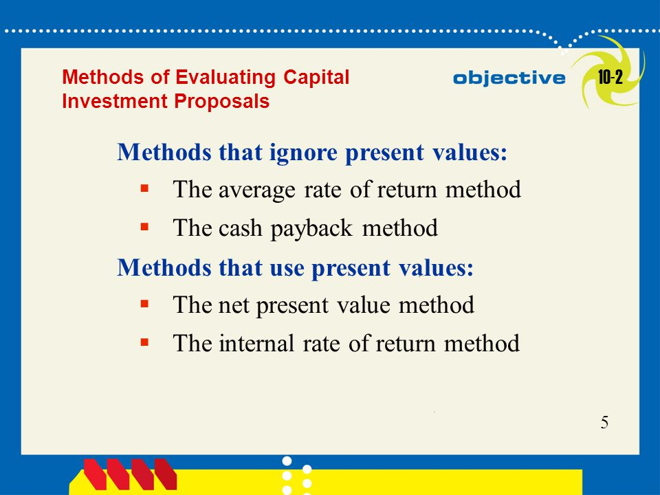 Methods that ignore present values: The average rate of return method