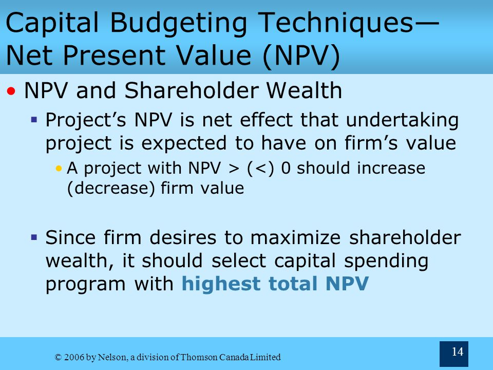 Capital Budgeting Techniques—Net Present Value (NPV)