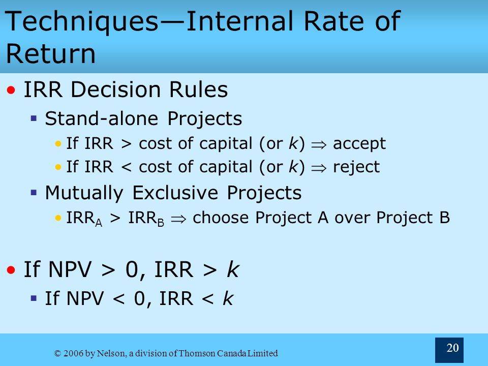 Techniques—Internal Rate of Return