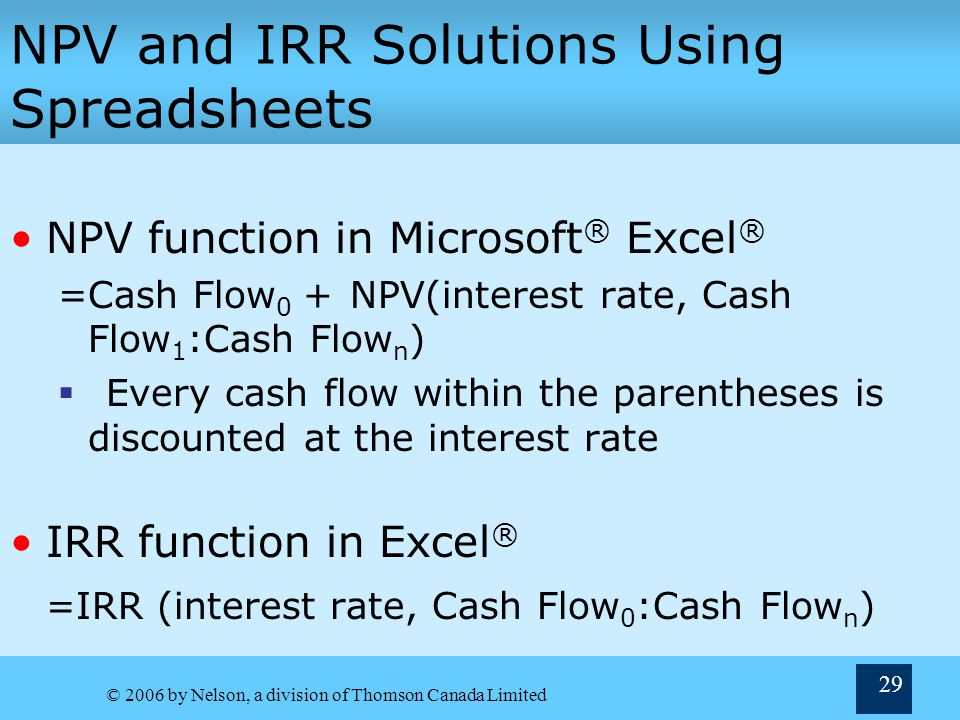NPV and IRR Solutions Using Spreadsheets