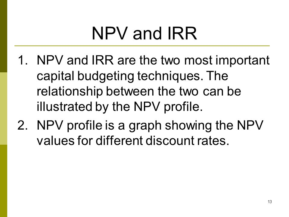 NPV and IRR
