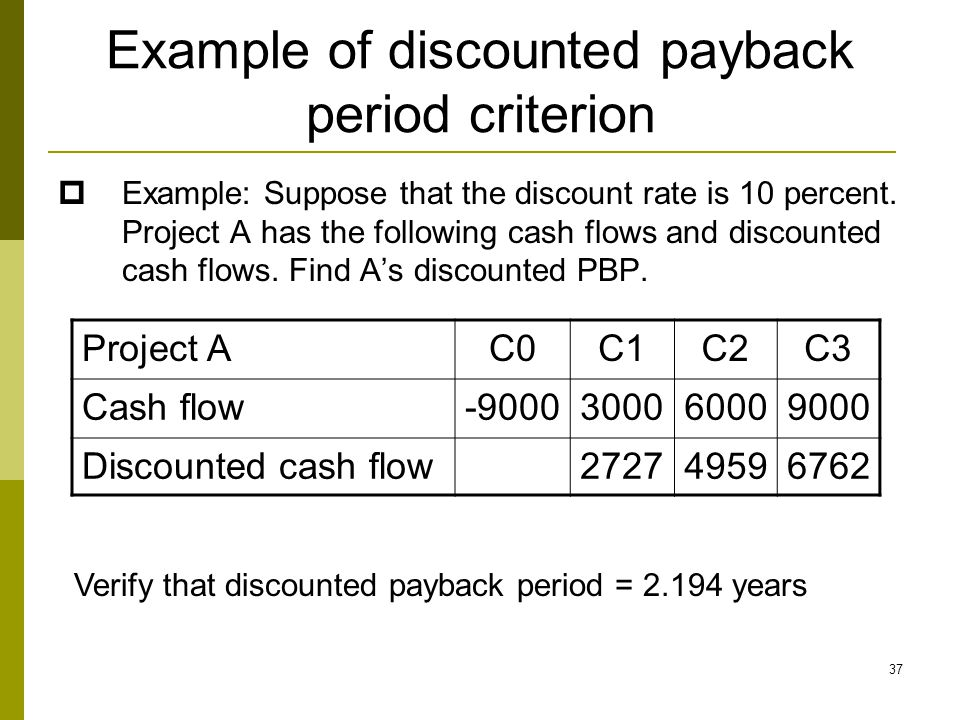 Example of discounted payback period criterion