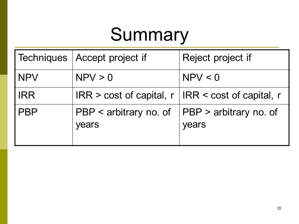 Summary Techniques Accept project if Reject project if NPV NPV > 0