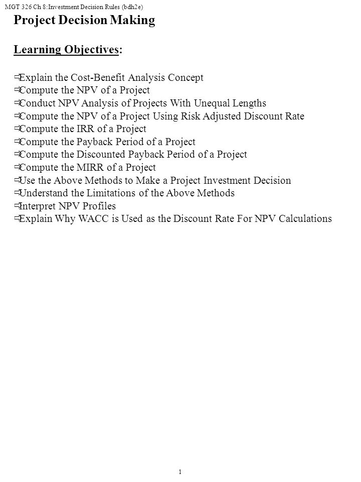 Project Decision Making