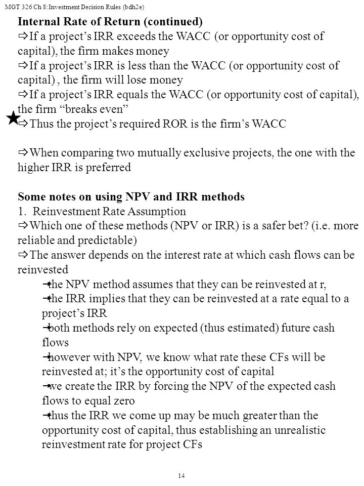 Internal Rate of Return (continued)