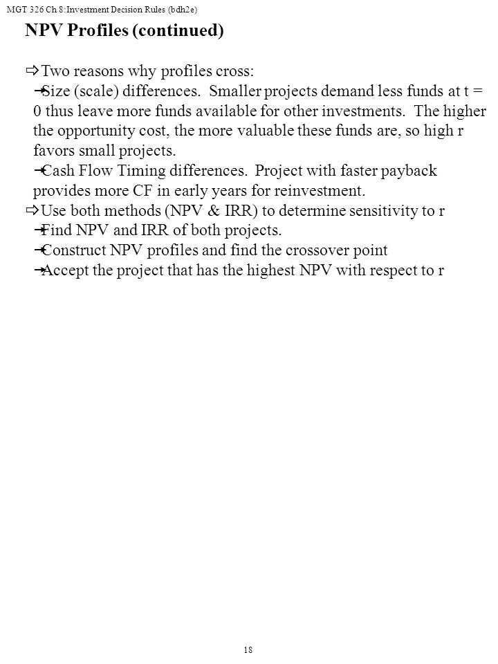 NPV Profiles (continued)