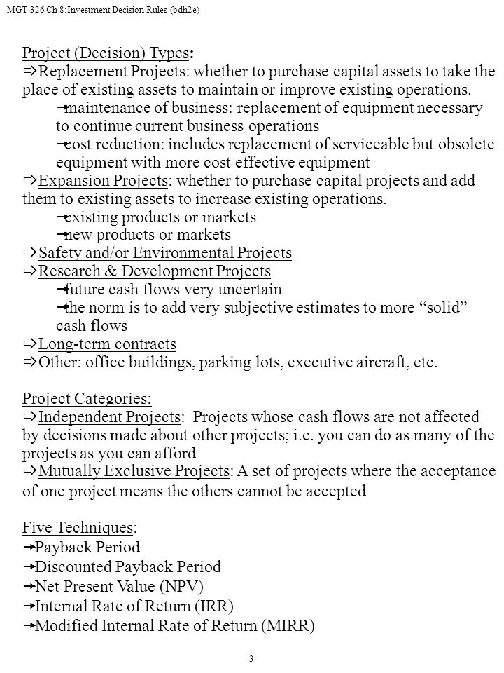 Project (Decision) Types: