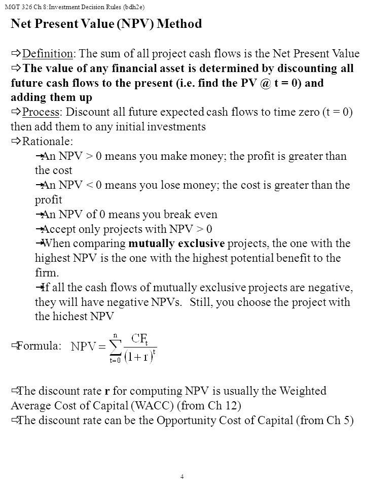 Net Present Value (NPV) Method