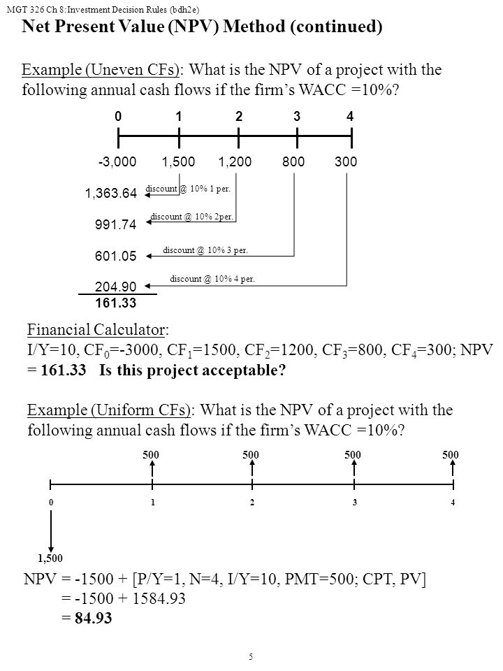 Net Present Value (NPV) Method (continued)