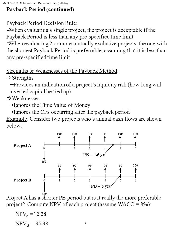 Payback Period (continued) Payback Period Decision Rule: