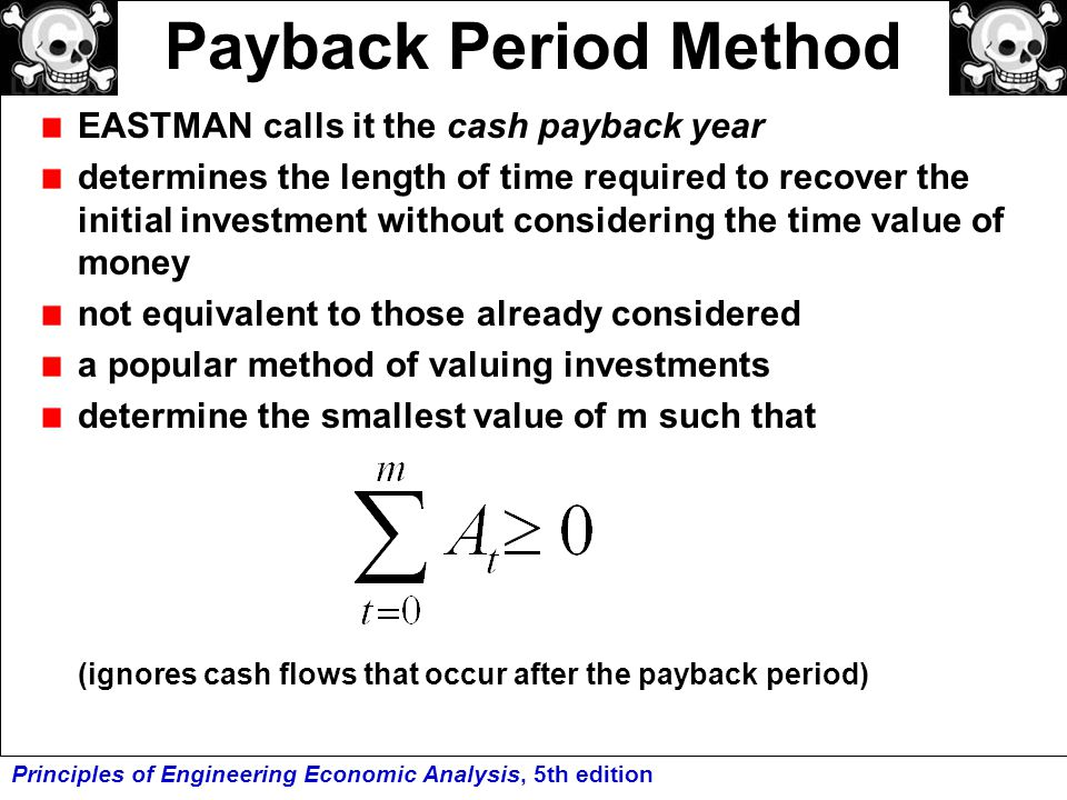 Payback Period Method EASTMAN calls it the cash payback year