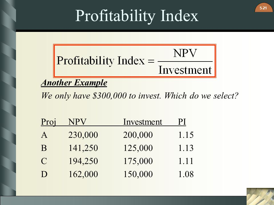 Profitability Index Another Example