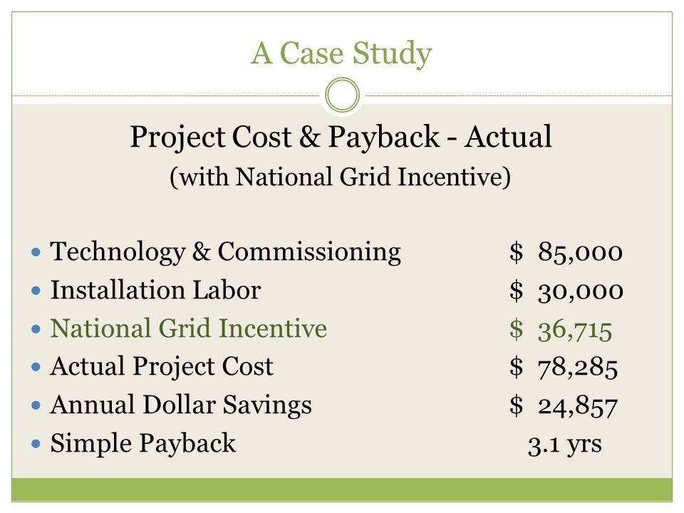 A Case Study Project Cost & Payback - Actual