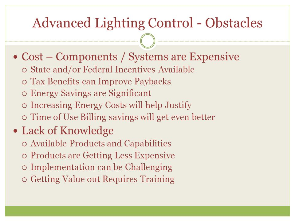 Advanced Lighting Control - Obstacles