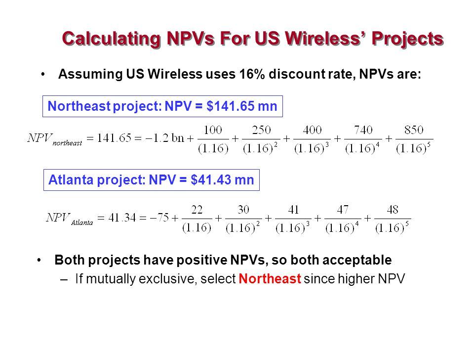 Calculating NPVs For US Wireless' Projects