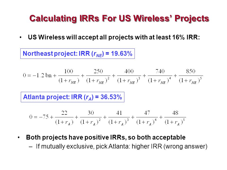 Calculating IRRs For US Wireless' Projects