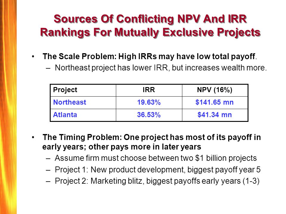 Sources Of Conflicting NPV And IRR Rankings For Mutually Exclusive Projects