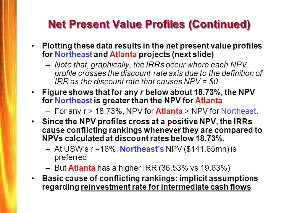 Net Present Value Profiles (Continued)