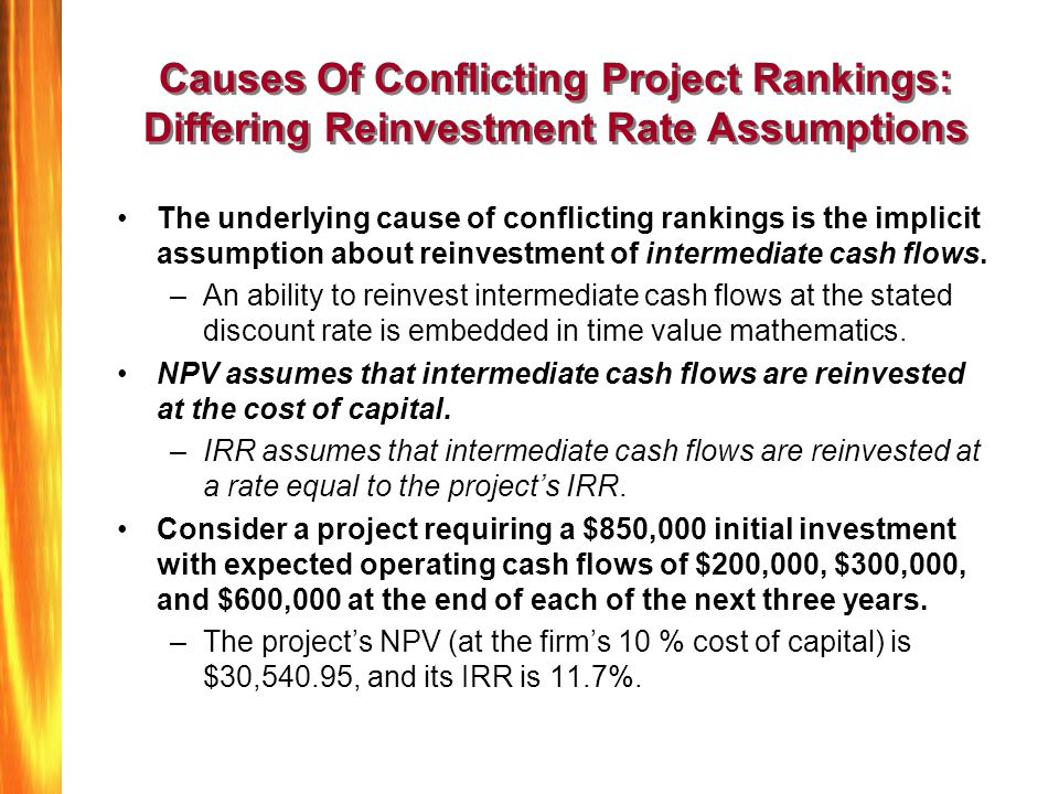 Causes Of Conflicting Project Rankings: Differing Reinvestment Rate Assumptions