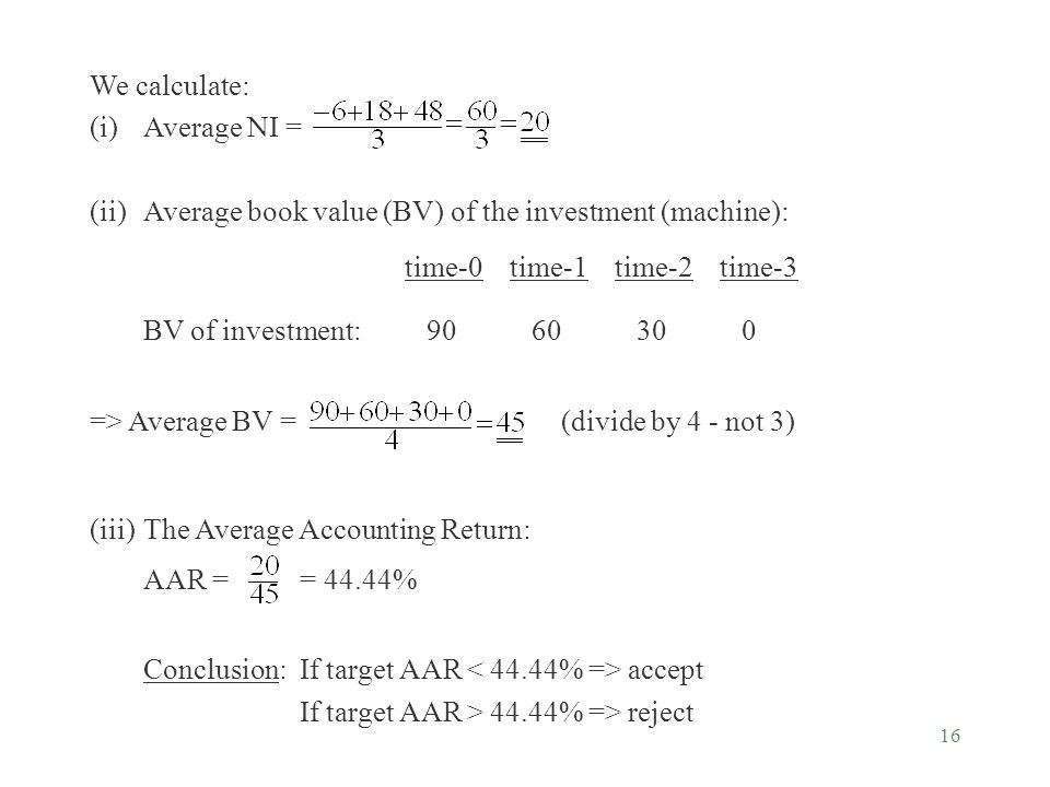 We calculate: (i) Average NI = (ii) Average book value (BV) of the investment (machine): time-0 time-1 time-2 time-3.