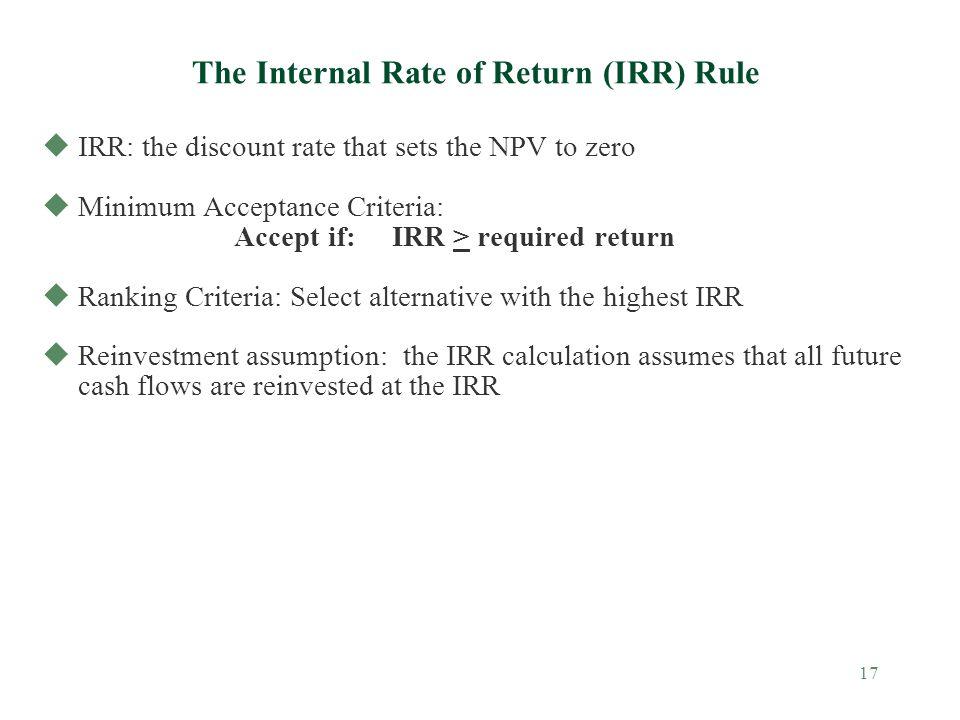 The Internal Rate of Return (IRR) Rule