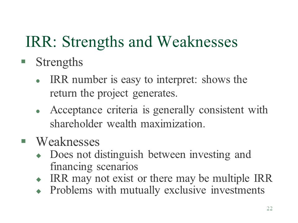 IRR: Strengths and Weaknesses
