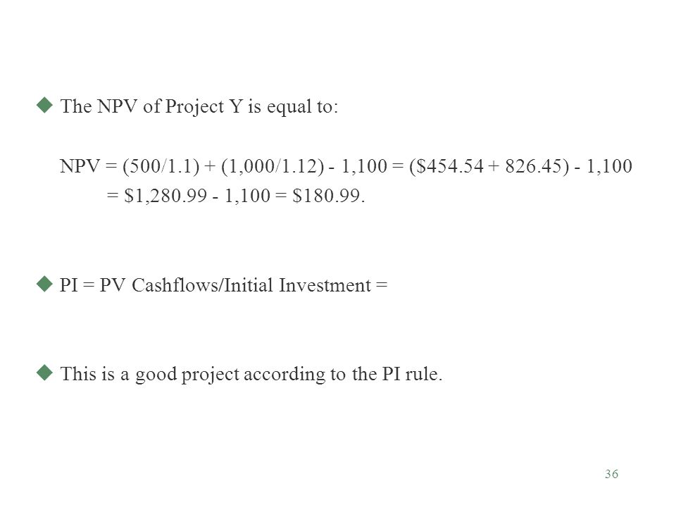 The NPV of Project Y is equal to: