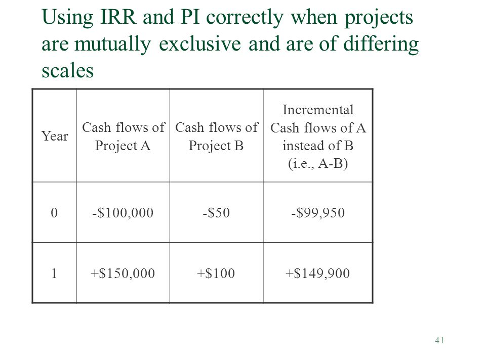 Incremental Cash flows of A instead of B (i.e., A-B)