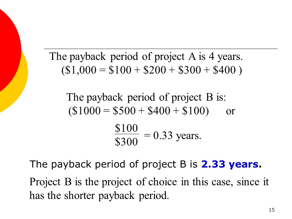 The payback period of project A is 4 years.