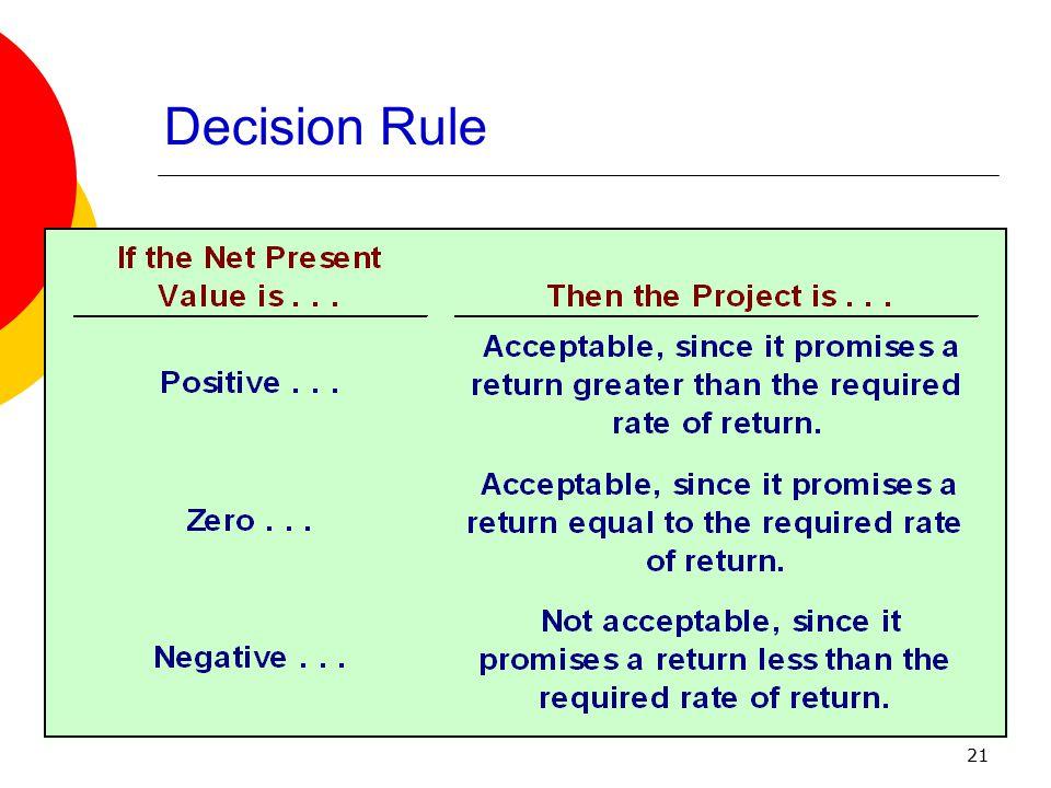 Decision Rule General decision rule . . .