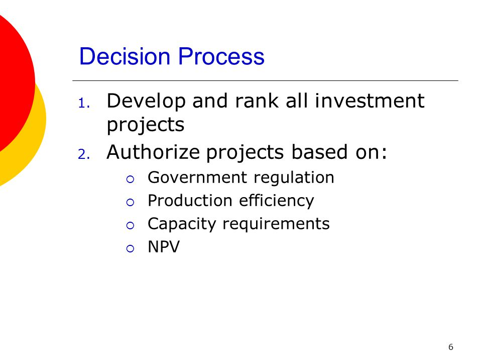Decision Process Develop and rank all investment projects