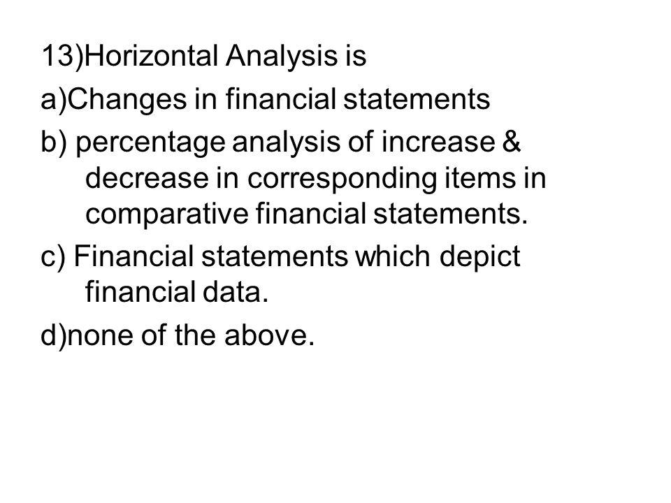 13)Horizontal Analysis is