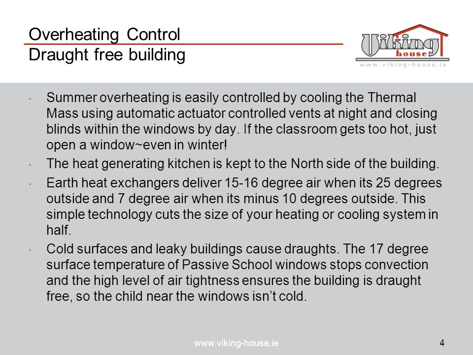 Overheating Control Draught free building