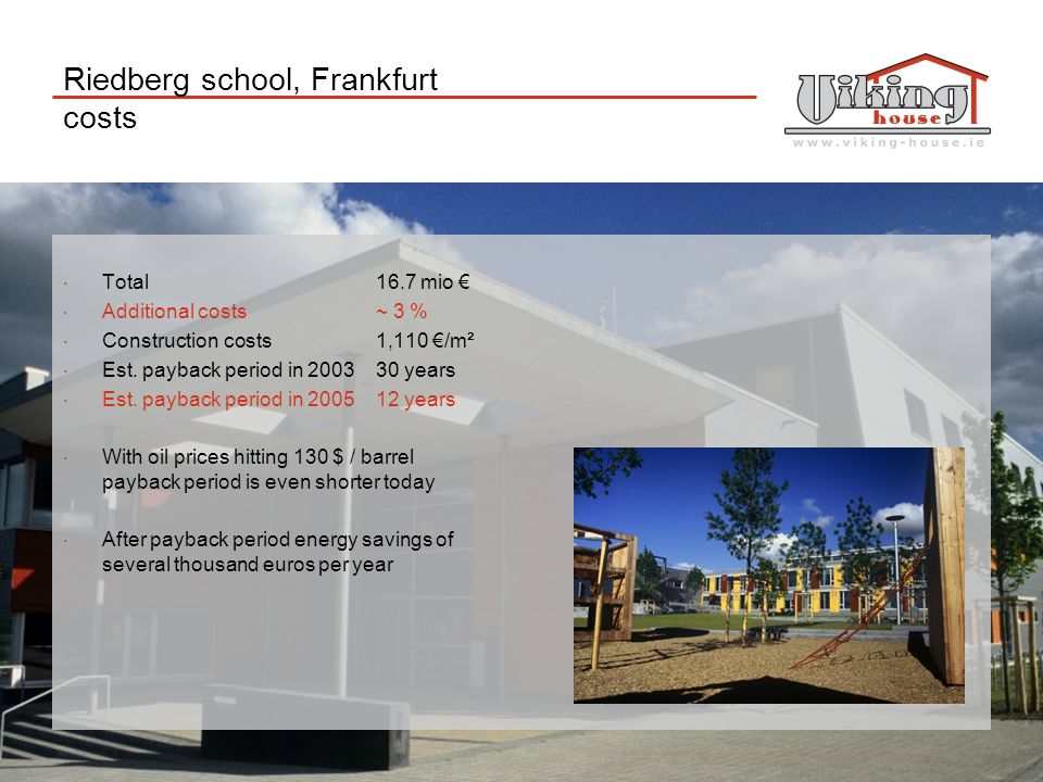 Riedberg school, Frankfurt costs