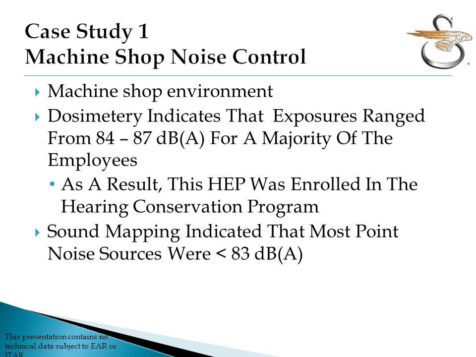 Case Study 1 Machine Shop Noise Control